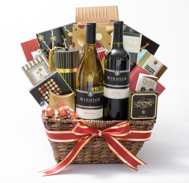 Windsor vineyards rustic wine country 2 bottle gift basket negle