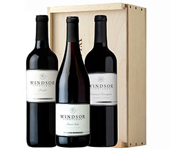 Windsor Sonoma Soiree 3-Bottle Set with Wooden Gift Box
