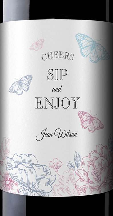 Custom Wine Label - Butterfly Sip and Enjoy