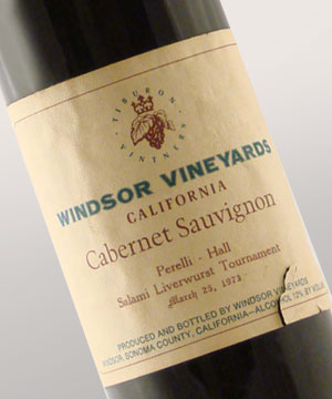 1973 Windsor Vineyards Cabernet Sauvignon with custom label