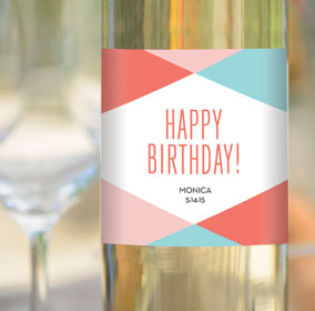 Happy Birthday Custom Label on a Bottle of White Wine