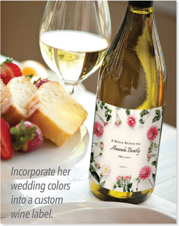 Incorporate her wedding colors into a custom wine label